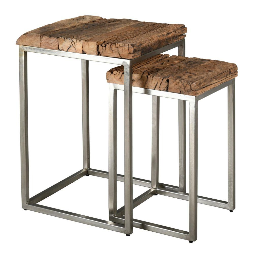 Aubry Gaspard Sellettes en bois massif et acier brossé (Lot de 2)