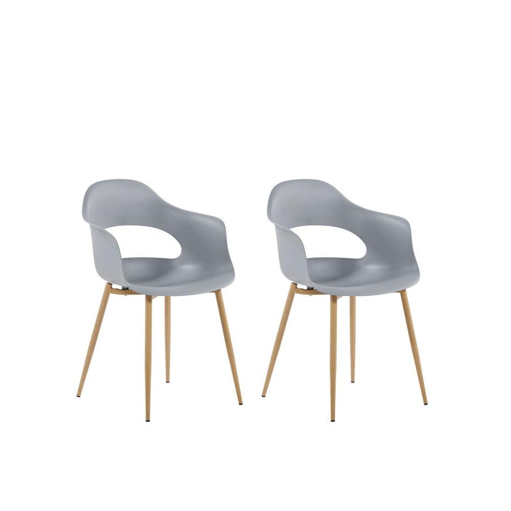 Beliani Beliani Set de 2 chaises de salle à manger grises UTICA - blanc