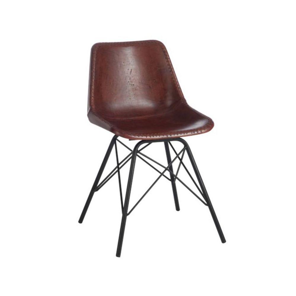 Paris Prix Chaise Design Cuir & Métal Tolbia 79cm Naturel