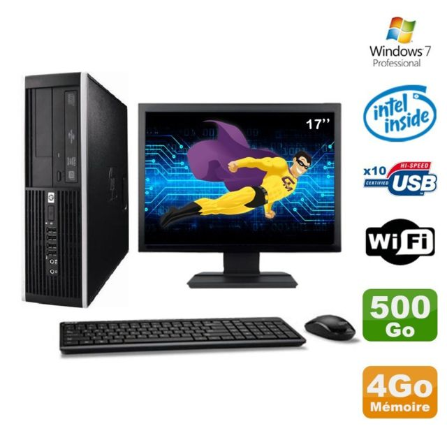 "Hp - Lot PC HP Elite 6000 Pro SFF E5400 2.7Ghz 4Go Disque 500Go WIFI W7 Pro +Ecran 17"""" - PC Fixe Pc tour"