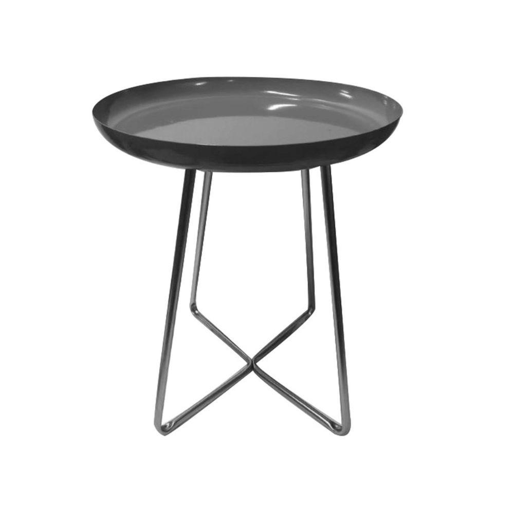The Home Deco Factory Table d'appoint en métal design Glossy - Diam. 40 x H. 48 cm - Noir