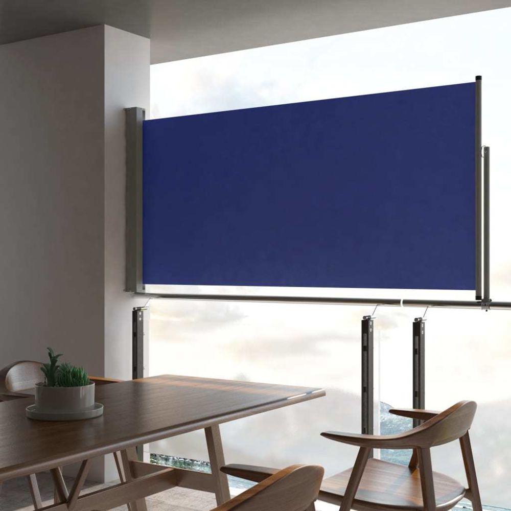 Generic Auvent latéral rétractable de patio 120x300 cm Bleu