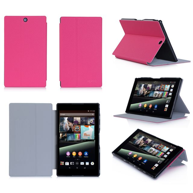 Xeptio - Housse Style Cuir luxe Ultra Slim tablette Sony Xperia Z3 Tablet Compact SGP611 / SGP621 rose - Etui coque - Marchand Bestventes