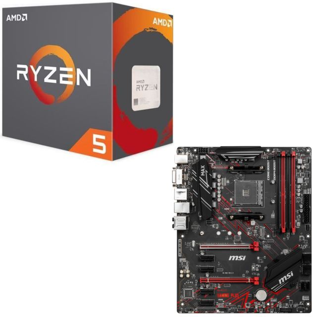Msi -AMD B450 GAMING PLUS MAX - ATX + Ryzen 5 2600 Wraith Stealth Edition - 3,4/3,9 GHz Msi  - Kit d'évolution