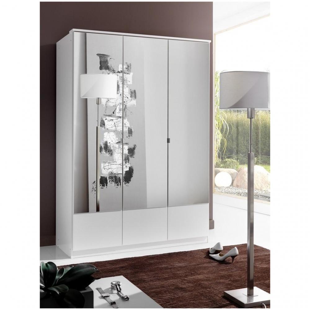 Inside 75 Armoire penderie DINGLE 3 portes miroirs largeur 135 blanche