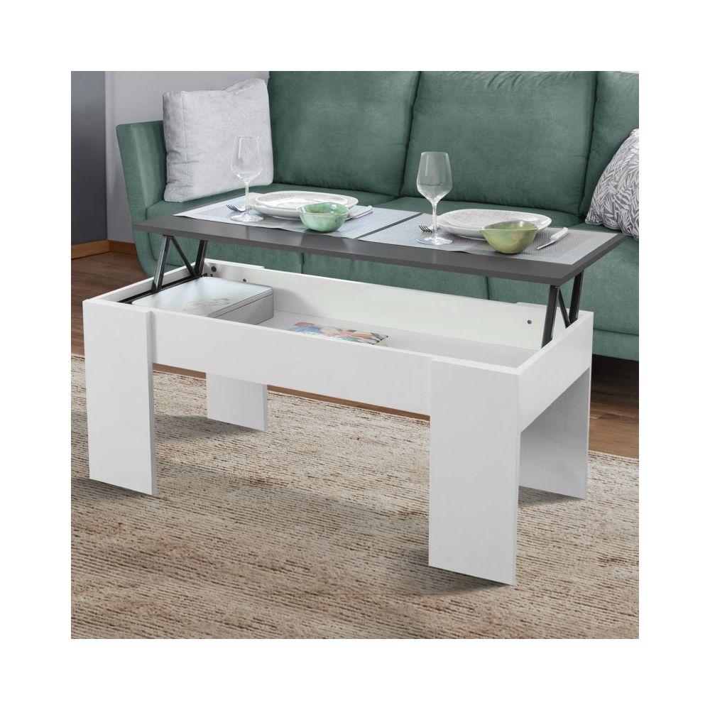 Idmarket Table basse avec plateau relevable bois blanc et gris