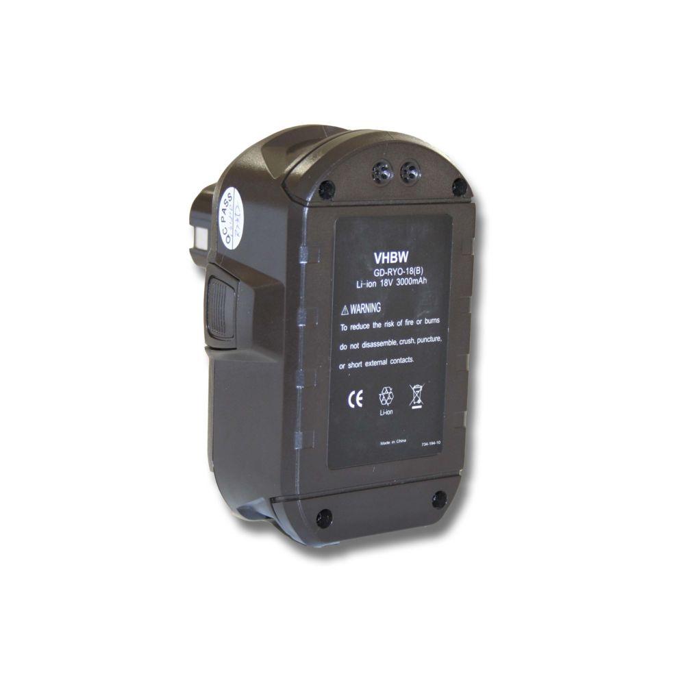 Vhbw Batterie Li-Ion vhbw 3000mAh (18V) pour outils Ryobi CCC-180L, CCD-1801, CCG-1801M, CCG-180L, CCS-1801, DM, CCS-1801, LM
