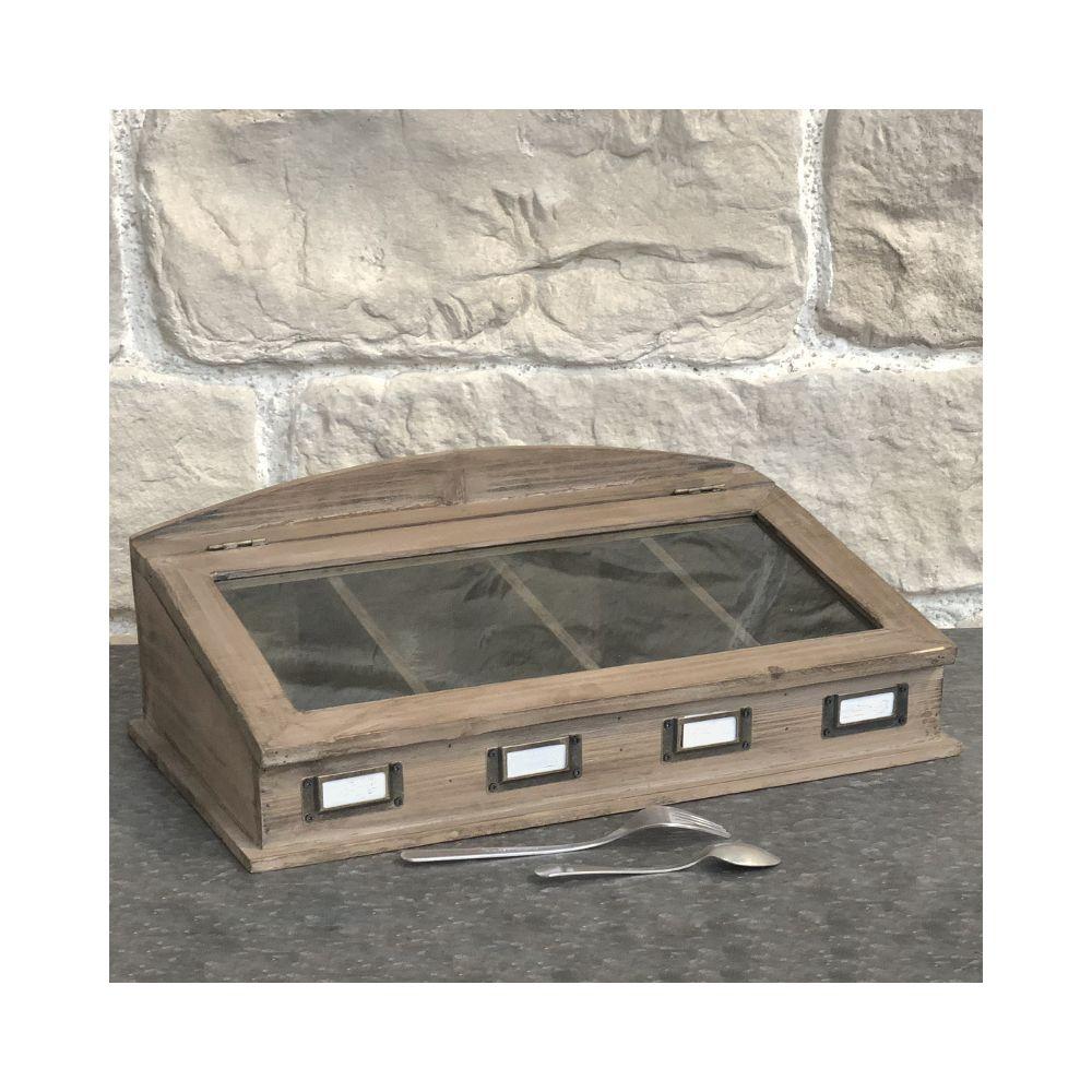 L'Originale Deco Boîte de Rangement Coffret à Couvert Bois Vitrée 47 cm x 27 cm x 16 cm