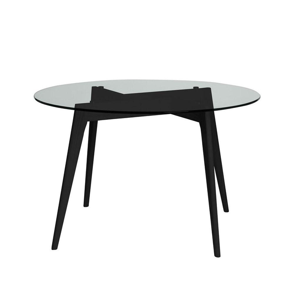 Tousmesmeubles Table de repas Ronde Verre/Noir - SAMBA