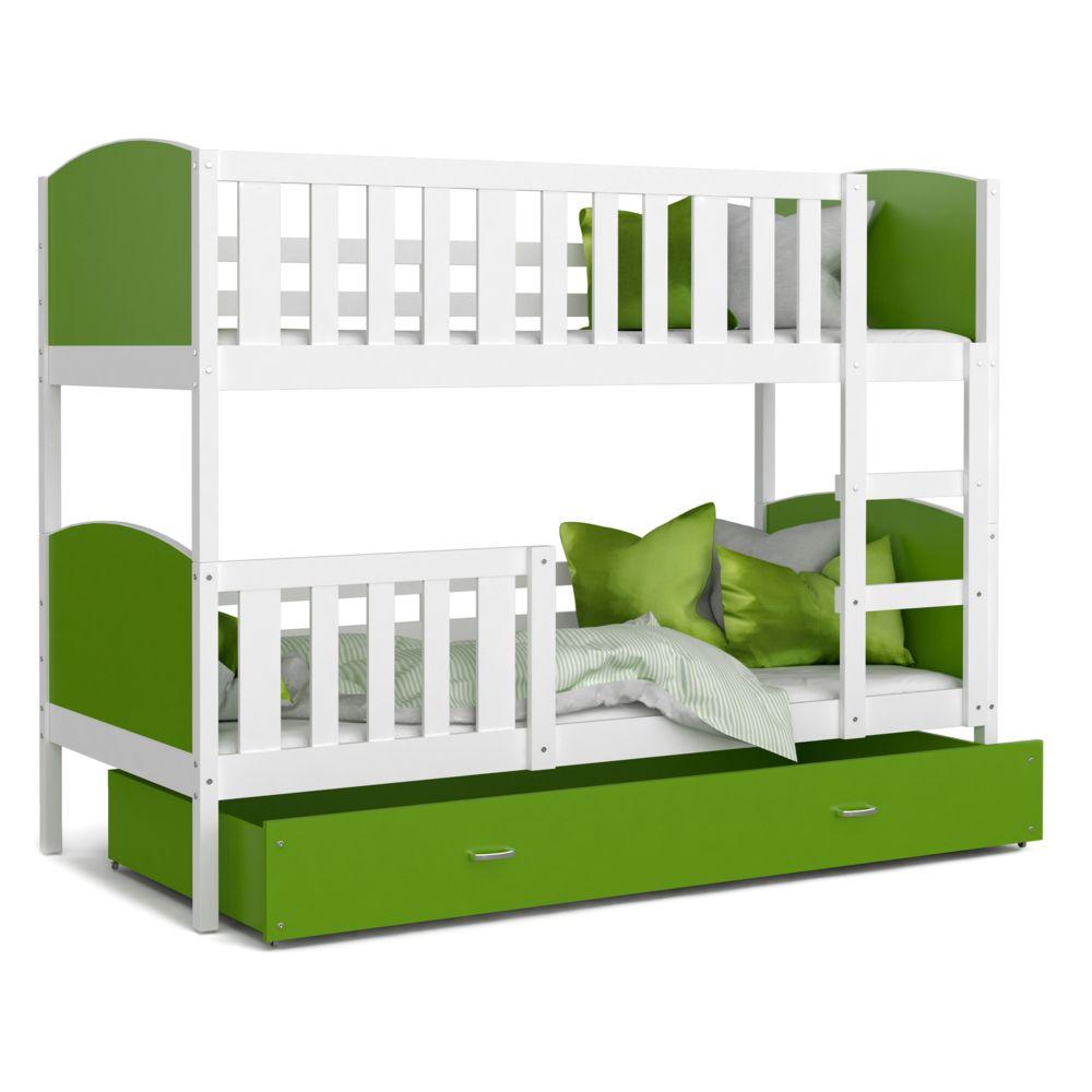 Kids Literie Lit superpose Tomy 90x190 blanc vert livré avec tiroir,2 sommiers et 2 matelas en mousse de 7cm offerts