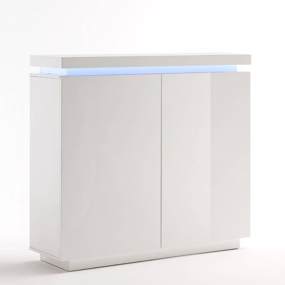 Inside 75 Buffet haut OCEAN laqué blanc brillant 2 portes LED inclus