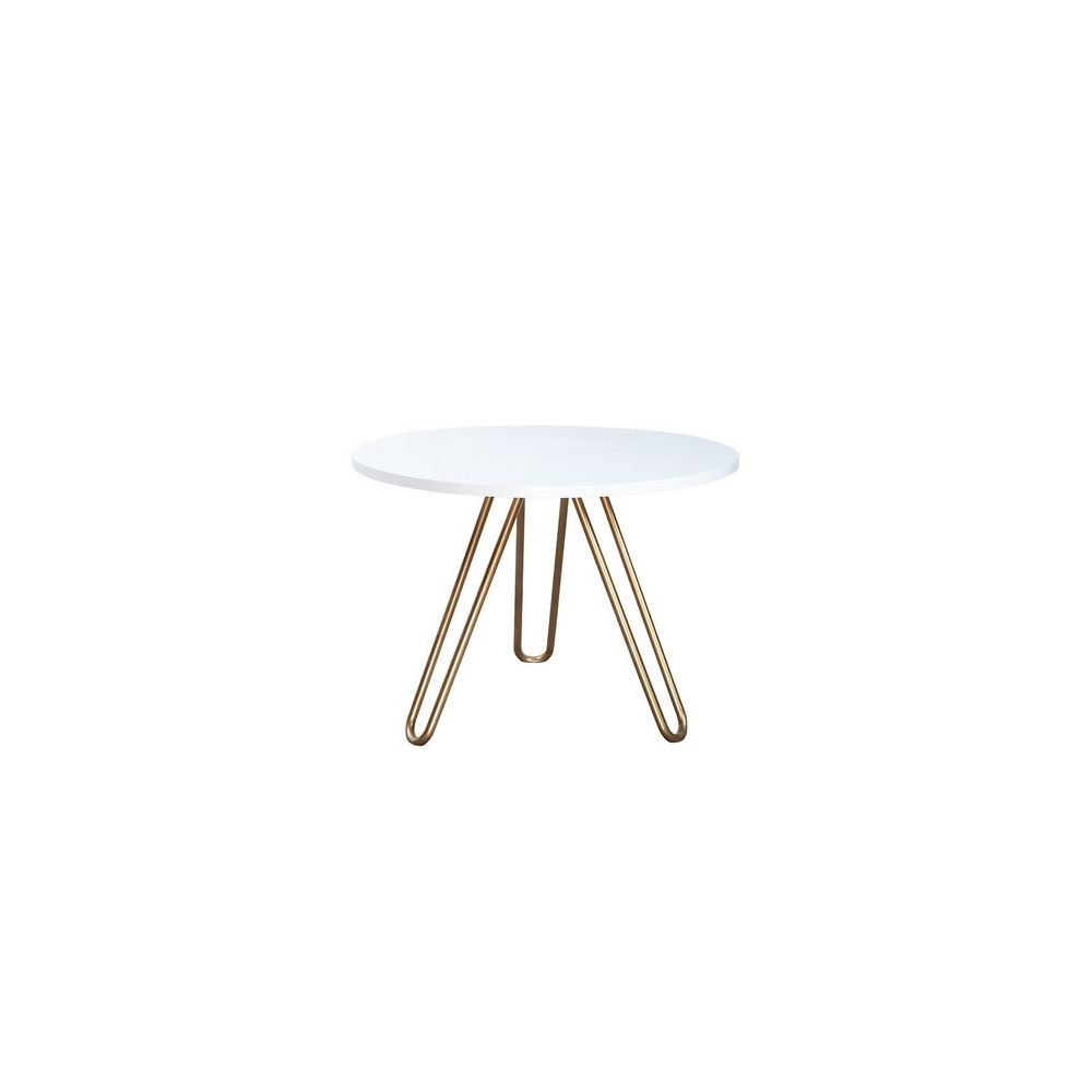 Wewoo Tables de café Accueil Mobilier Table ronde en bois massif acier basse minimaliste 80cm * 80cm * 75cm