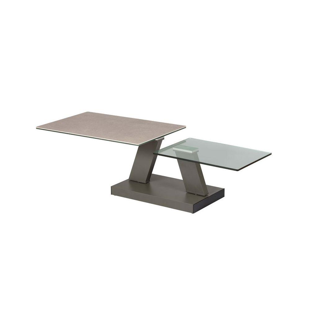 Tousmesmeubles Table basse articulée rectangulaire Acier/Verre/Céramique - VERRO