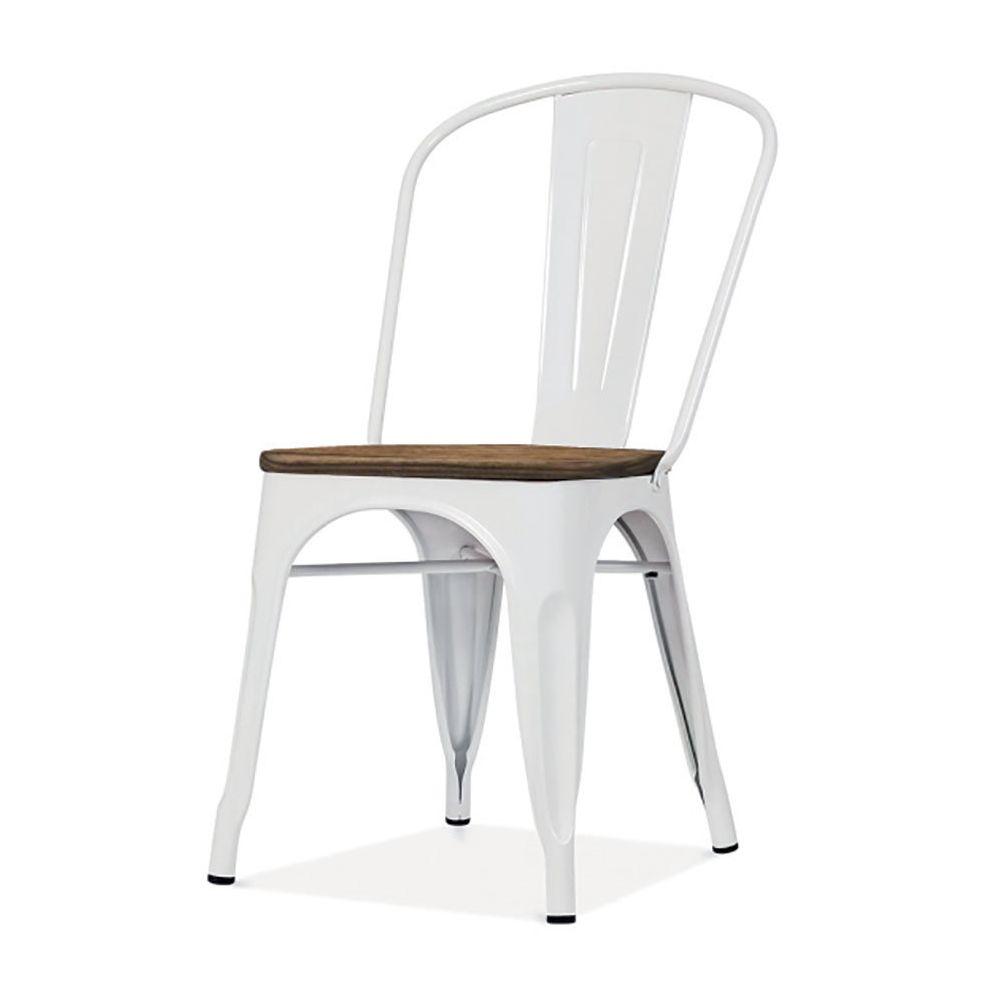 Sofamobili Chaise industrielle en acier et bois BRITANA (lot de 4), 2 coloris