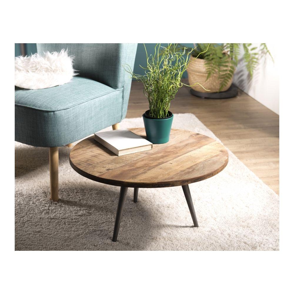 MACABANE Table basse d'appoint ronde 55x55cm Teck recyclé et pieds métal