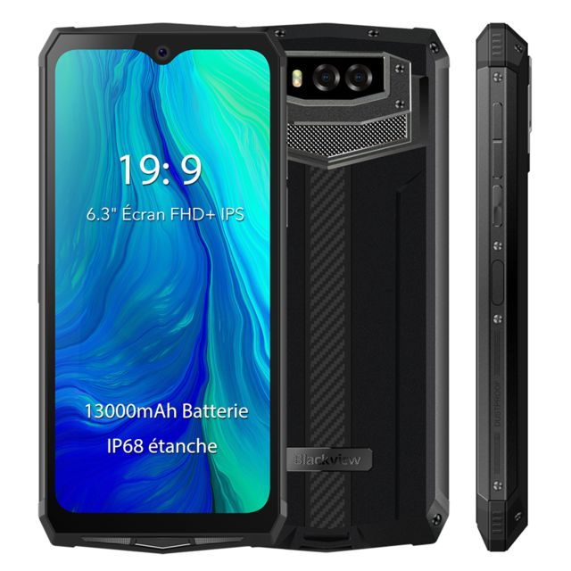 "Blackview - Smartphone Incassable IP68 Etanche Blackview BV9100 6.3"""" Écran 13000mAh Batterie 4Go + 64Go Octa Core Téléphone portable 4G NFC - Gris - Smartphone Android"