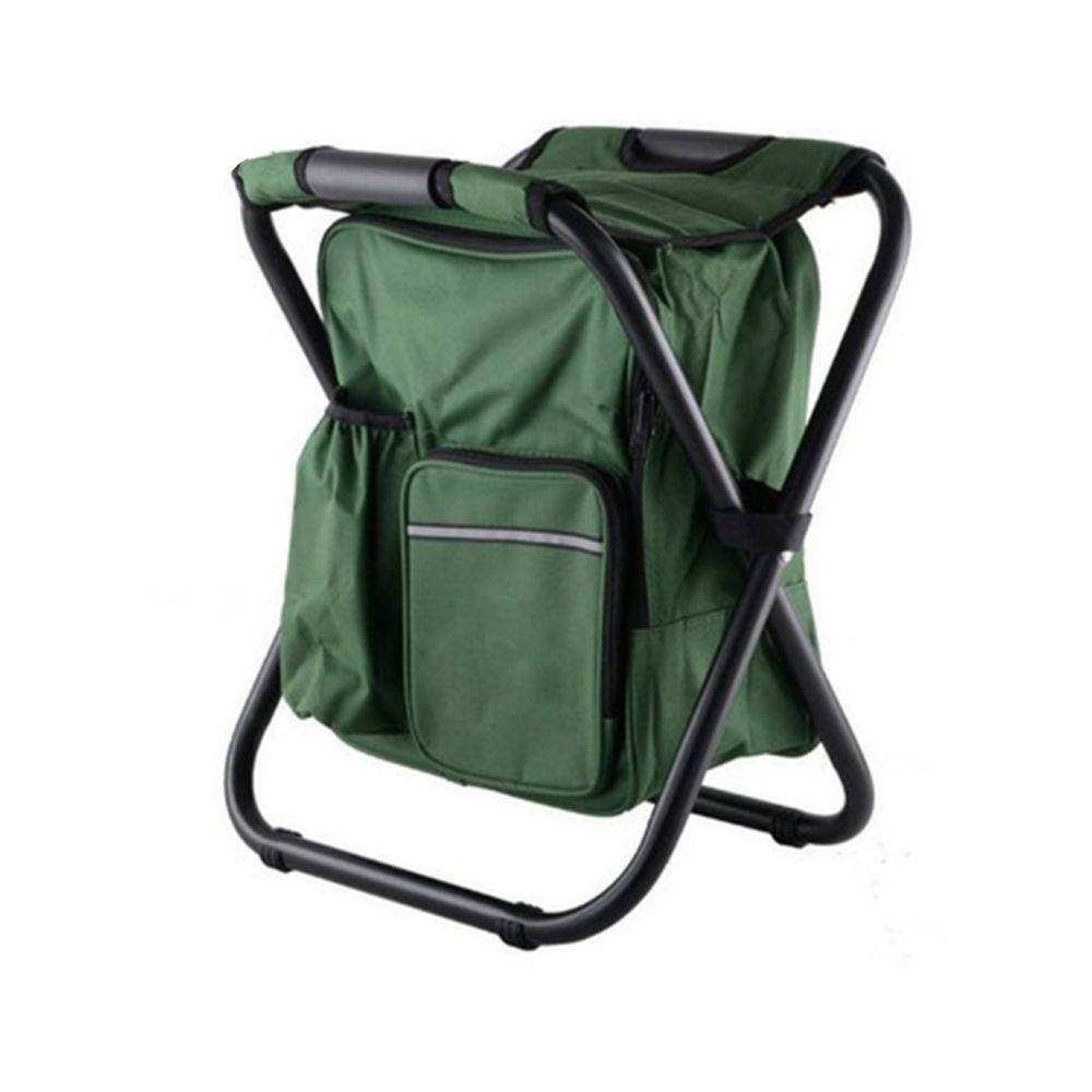 Wewoo Chaise de camping pliante portable de plein air de plage de pêche en acier inoxydable de avec sac de glace vert