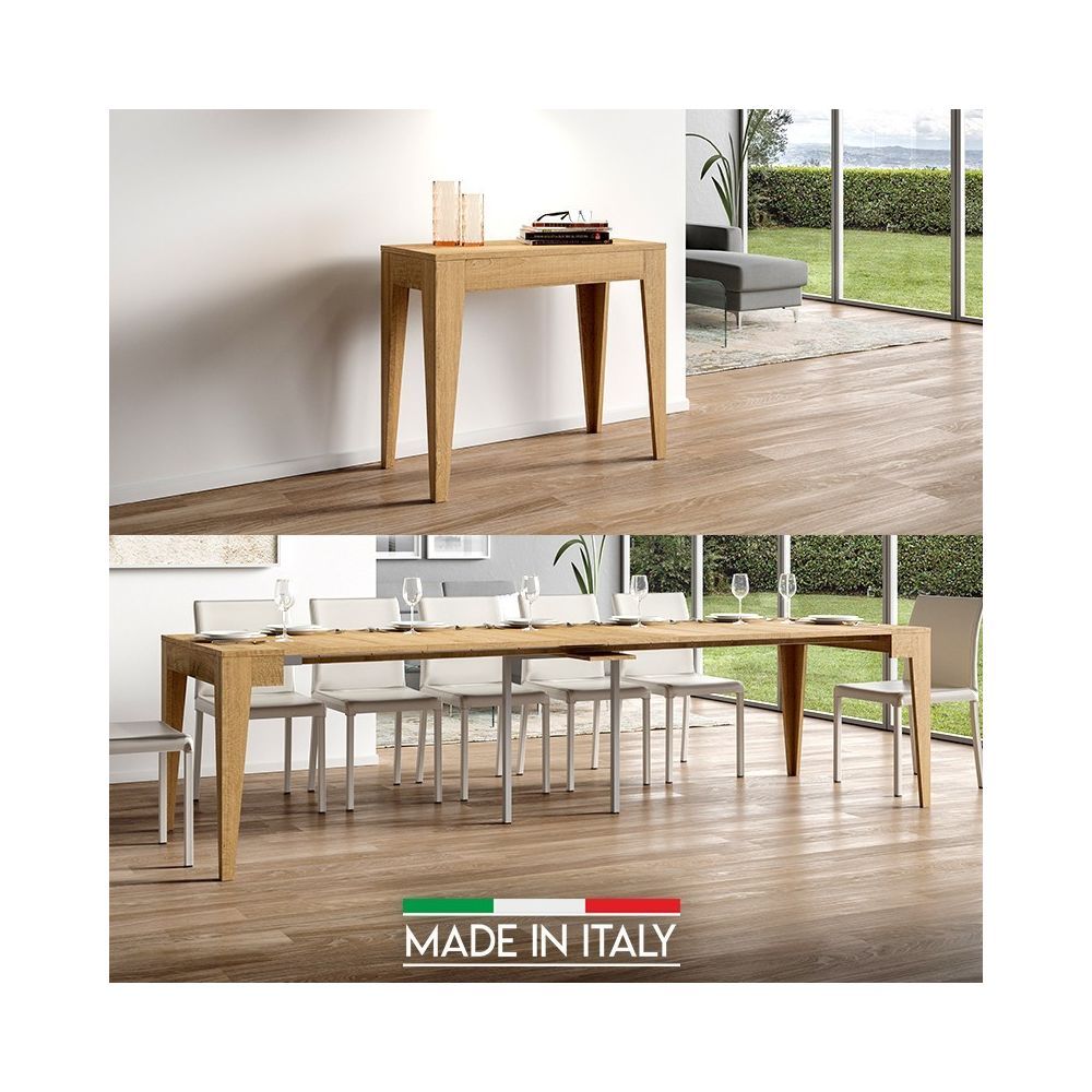 Meubler Design Table Console extensible Isotta Bois - Chêne Nature, Nombre d'extensions - 5 Rallonges