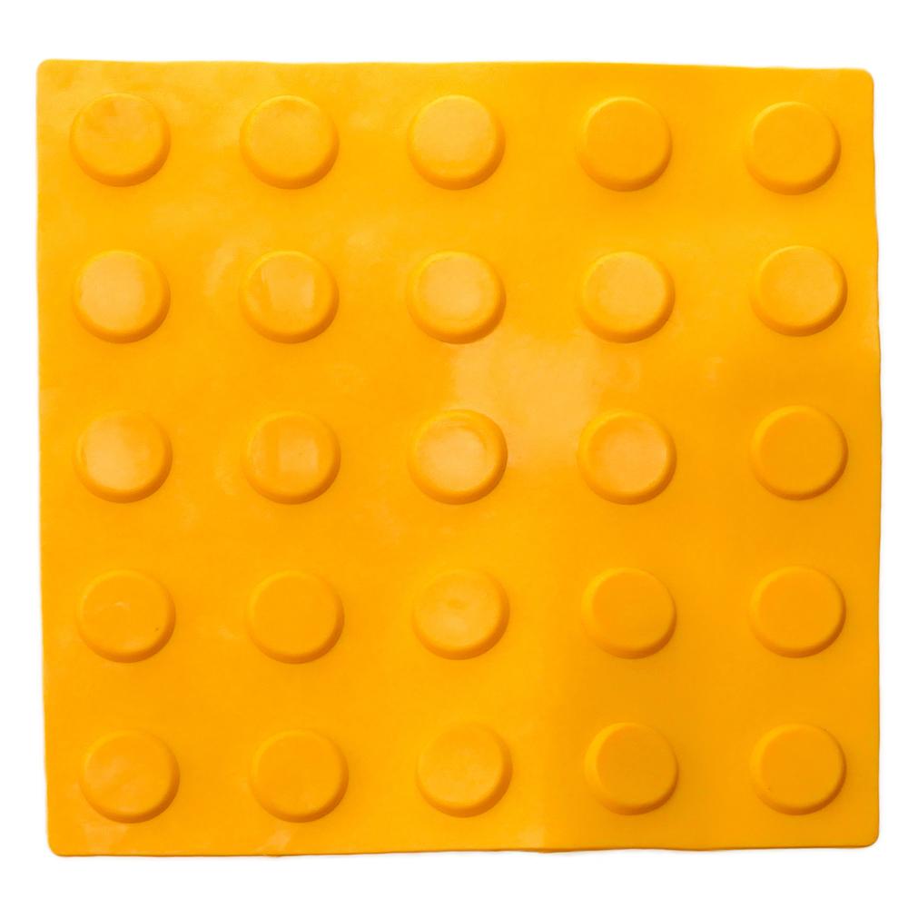 Primematik PrimeMatik - Pavé revêtement de sol tactile pour personnes aveugles 25x25cm avec cercles d'arrêt jaune 10-pack