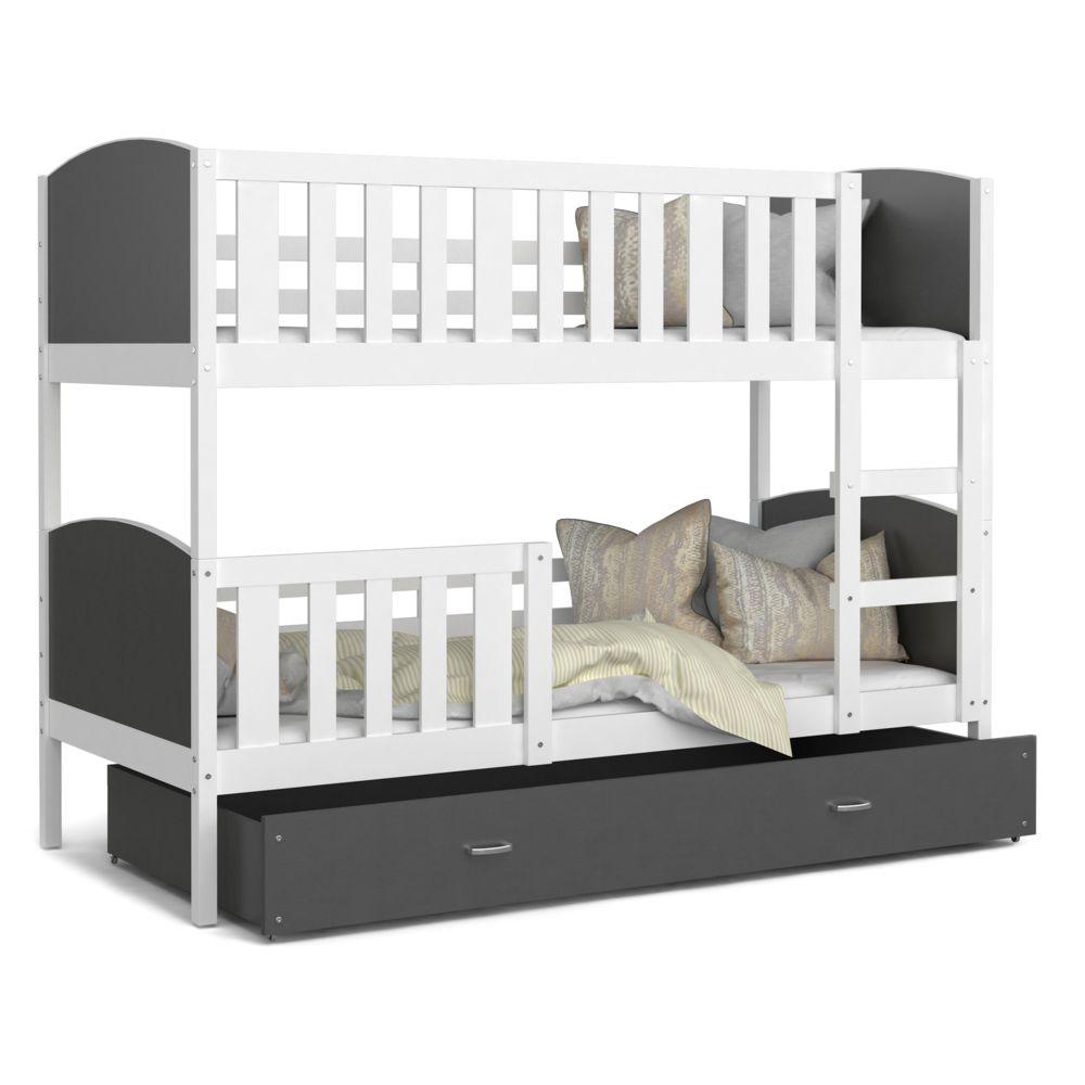 Kids Literie Lit superpose Tomy 90x190 blanc gris livré avec tiroir,2 sommiers et 2 matelas en mousse de 7cm offerts