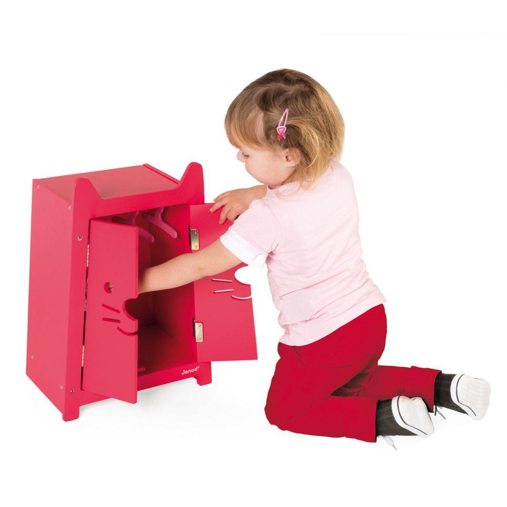 Janod Armoire pour vêtements de poupées 36 cm Babycat