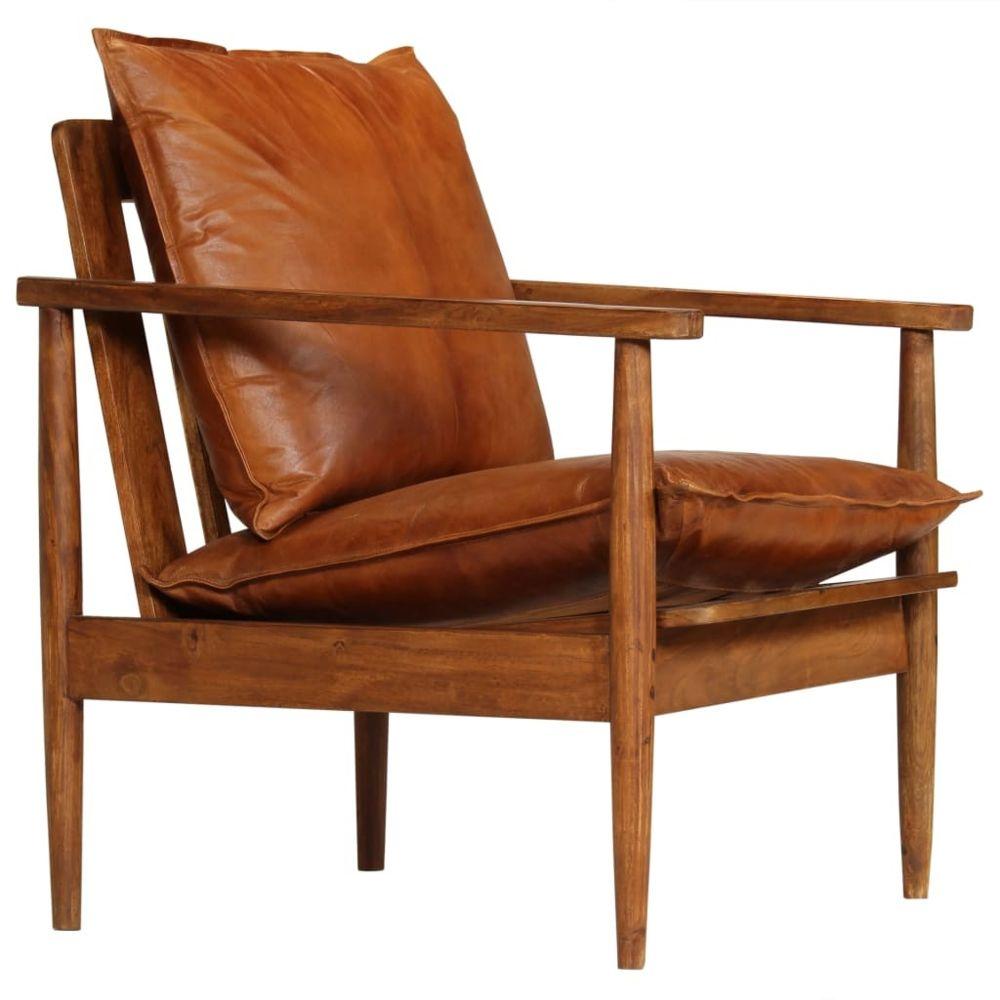 Vidaxl Fauteuil Cuir véritable avec Bois d'acacia Marron   Brun - Fauteuils - Fauteuils club, fauteuils inclinables et chauffeu