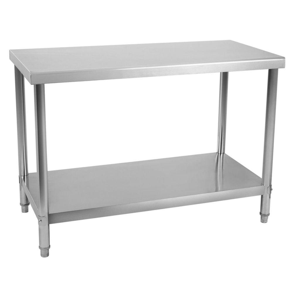 Helloshop26 Table de travail professionnelle acier inox pieds ajustable 120 x 60 cm 3614080