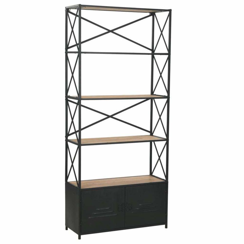 Helloshop26 Étagère armoire meuble design bibliothèque bois de sapin massif et acier 180 cm 2702054/2