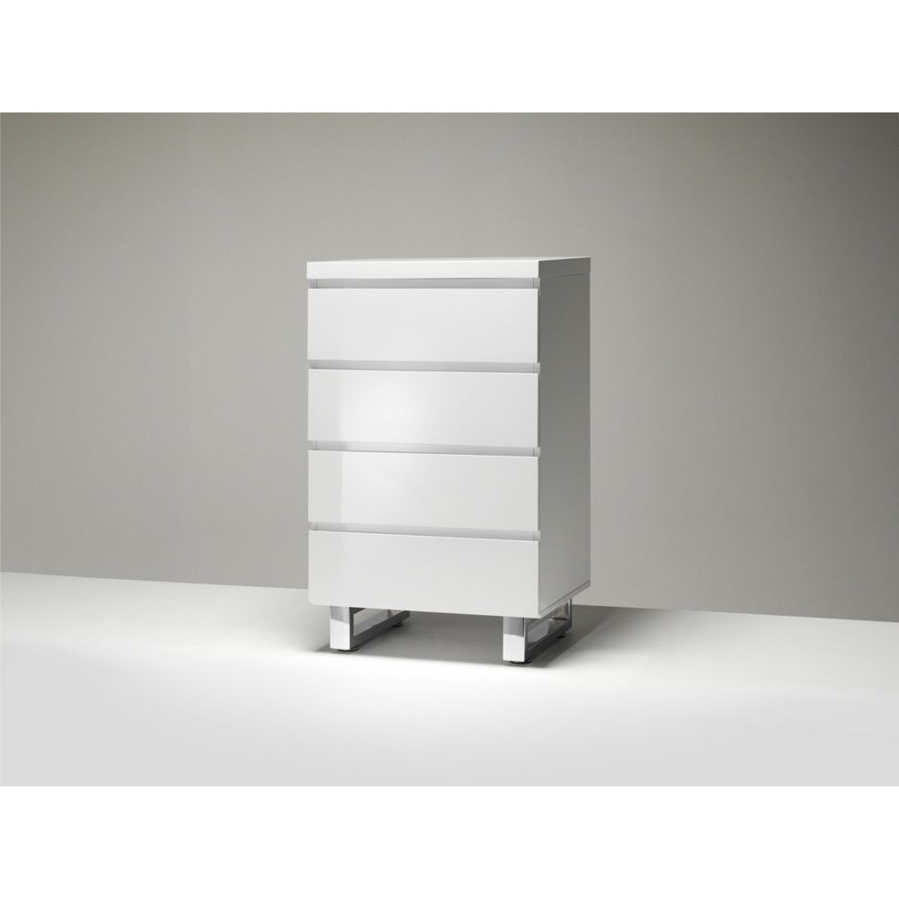 Pegane Commode coloris laqué blanc brillant avec 4 tiroirs - L56 x H93 x P42 cm -PEGANE-