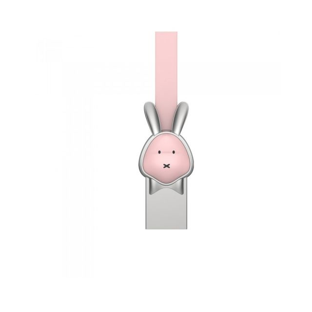 We - Câble WE lapin USB/micro USB plat (1m) - Rose - Câble et Connectique We