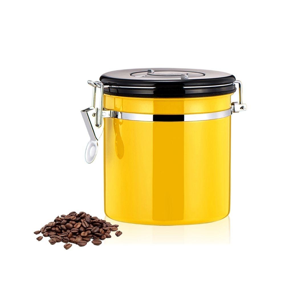 Wewoo 800ml en acier inoxydable scellé café et jaune aliments motifs conteneur de stockage de haricots avec intégré CO2 soupap