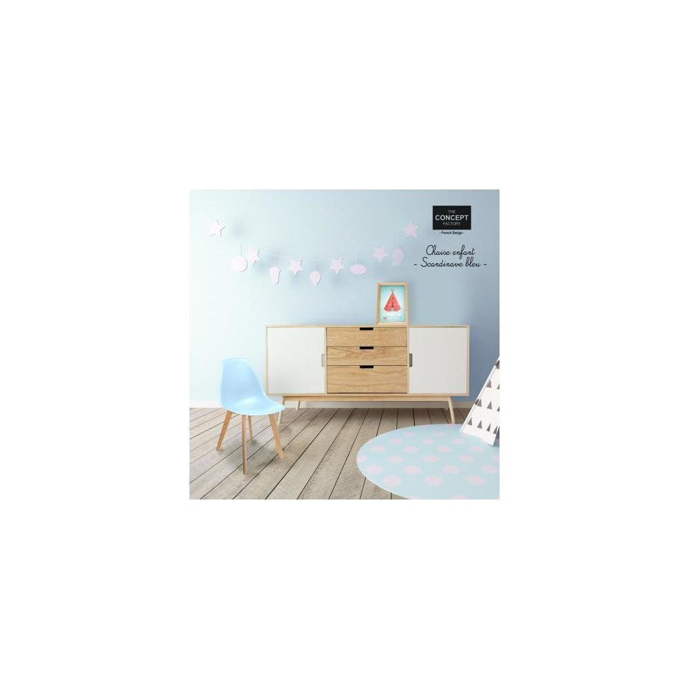 Declikdeco - Chaise Enfant Scandinave Bleue BABY NORWAY - Chaises
