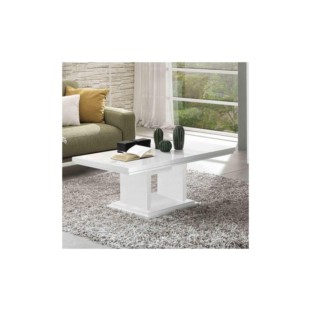 Dansmamaison Table basse rectangulaire laqué Blanc - POTIRI - L 110 x l 60 x H 45 cm