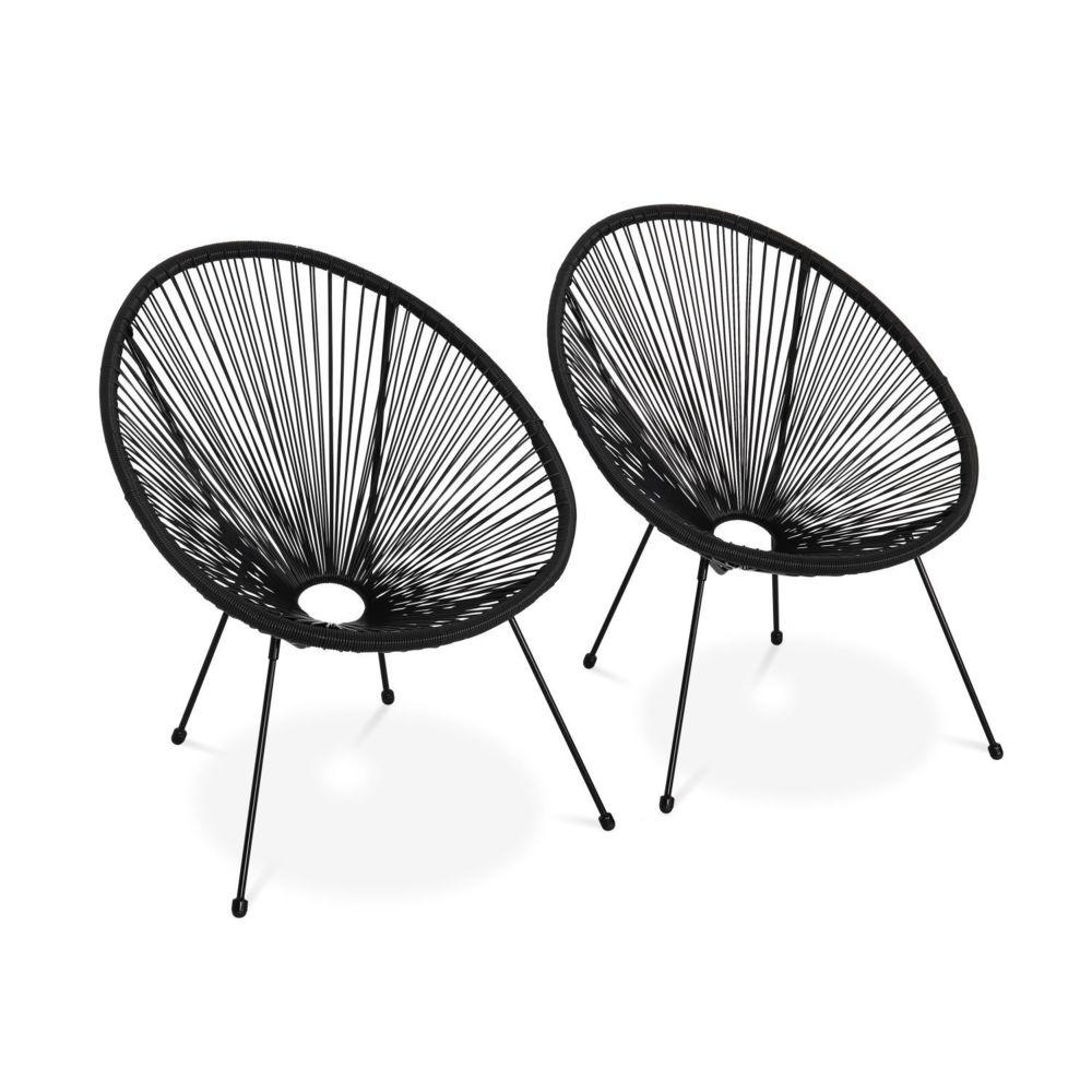 Alice'S Garden Lot de 2 fauteuils design Oeuf - Acapulco Noir - Fauteuils 4 pieds design rétro, cordage plastique, intérieur / extérieu