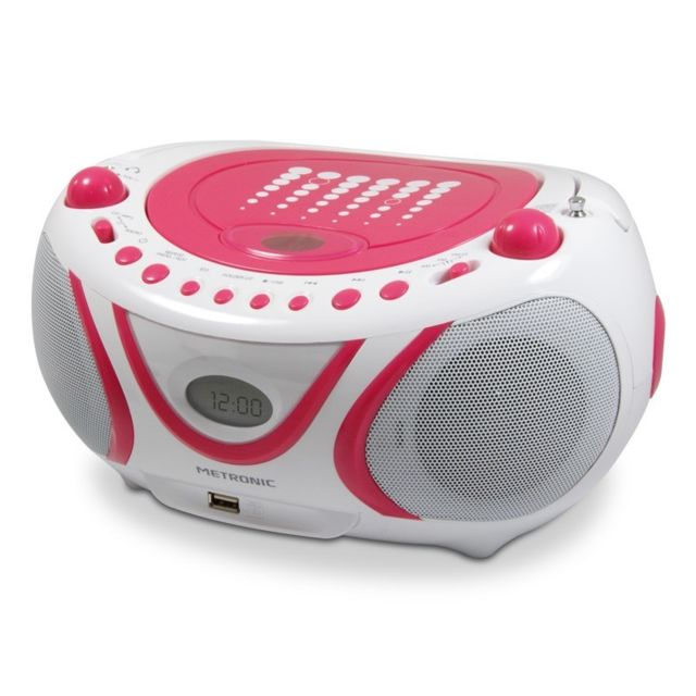 Metronic - Radio CD-MP3 USB FM Pop Pink - rose et blanc - Marchand Sono energie