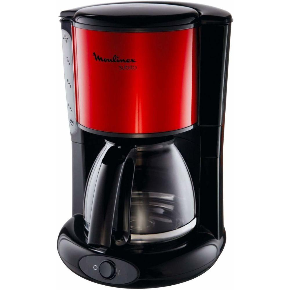 Moulinex cafetière électrique de 1,25L pour 10 a 15 tasses 1000W rouge noir