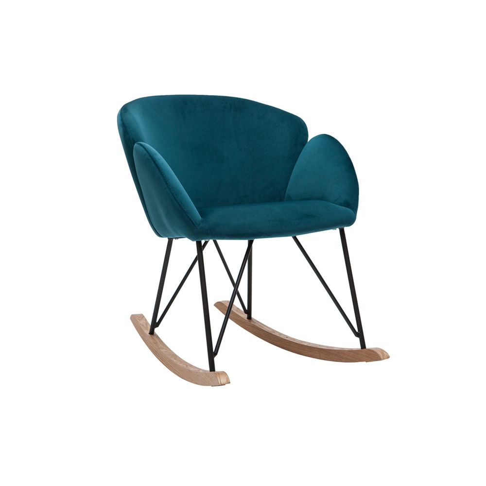 Miliboo Rocking chair design en velours bleu pétrole RHAPSODY