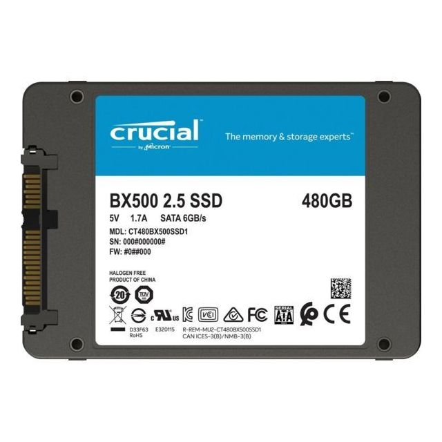 "Crucial BX500 1 To - 2.5"""" SATA III (6 Gb/s)"