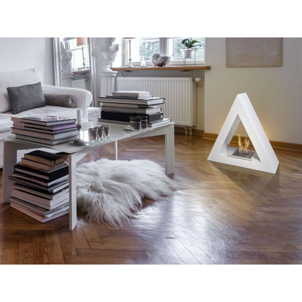 Purline Bio-cheminée au design moderne et corps en acier adapté pour intérieur et extérieur blanc