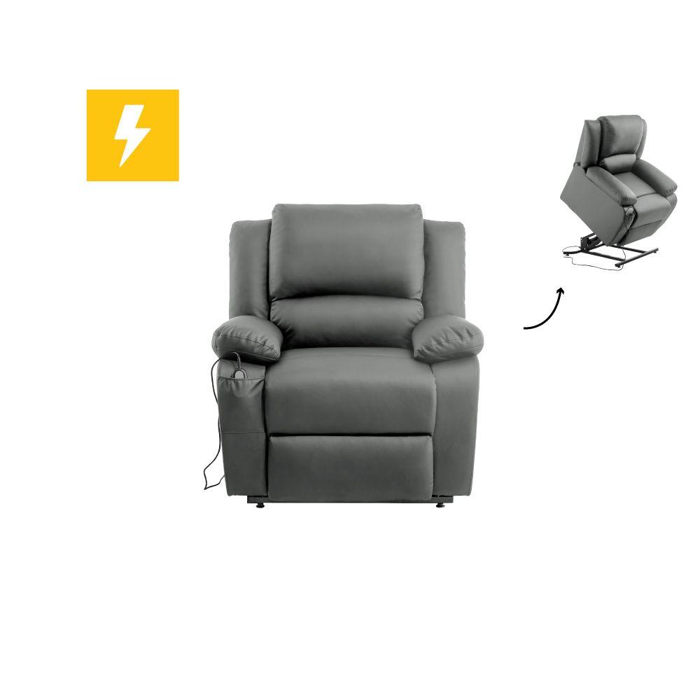 Usinestreet Fauteuil de Relaxation Releveur électrique 1 place en Simili DETENTE - Couleur - Gris
