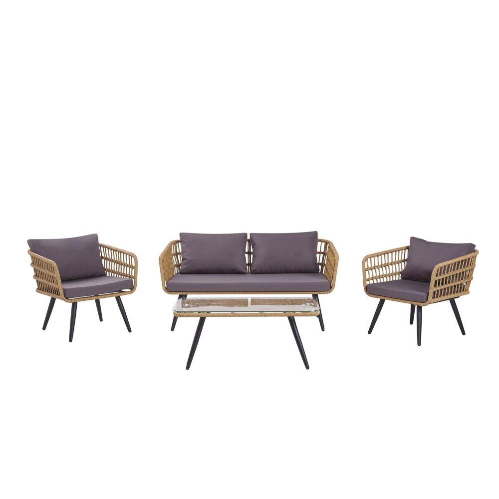 Beliani Beliani Salon de jardin 4 places en rotin beige avec coussins gris graphite FOBELLO - marron