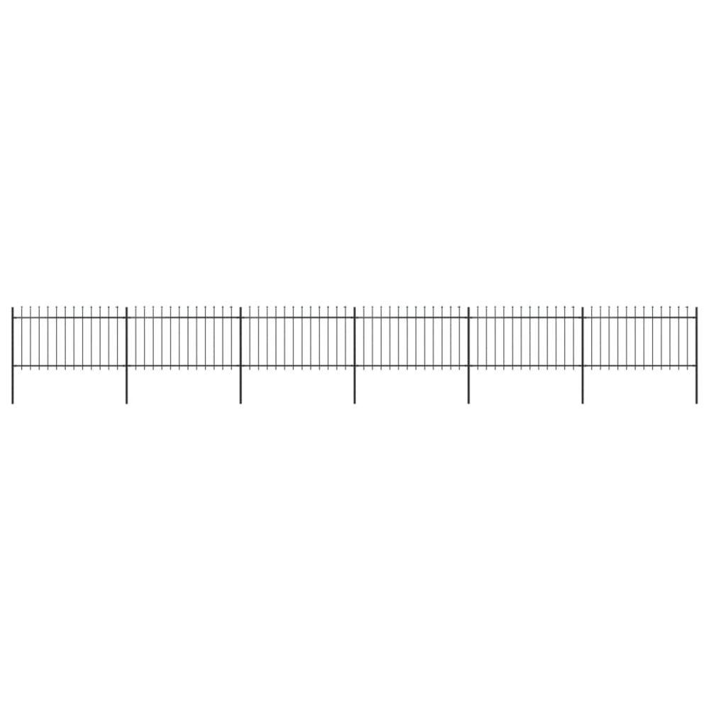 Uco UCO Clôture de jardin avec dessus en lance Acier 10,2 x 1 m Noir