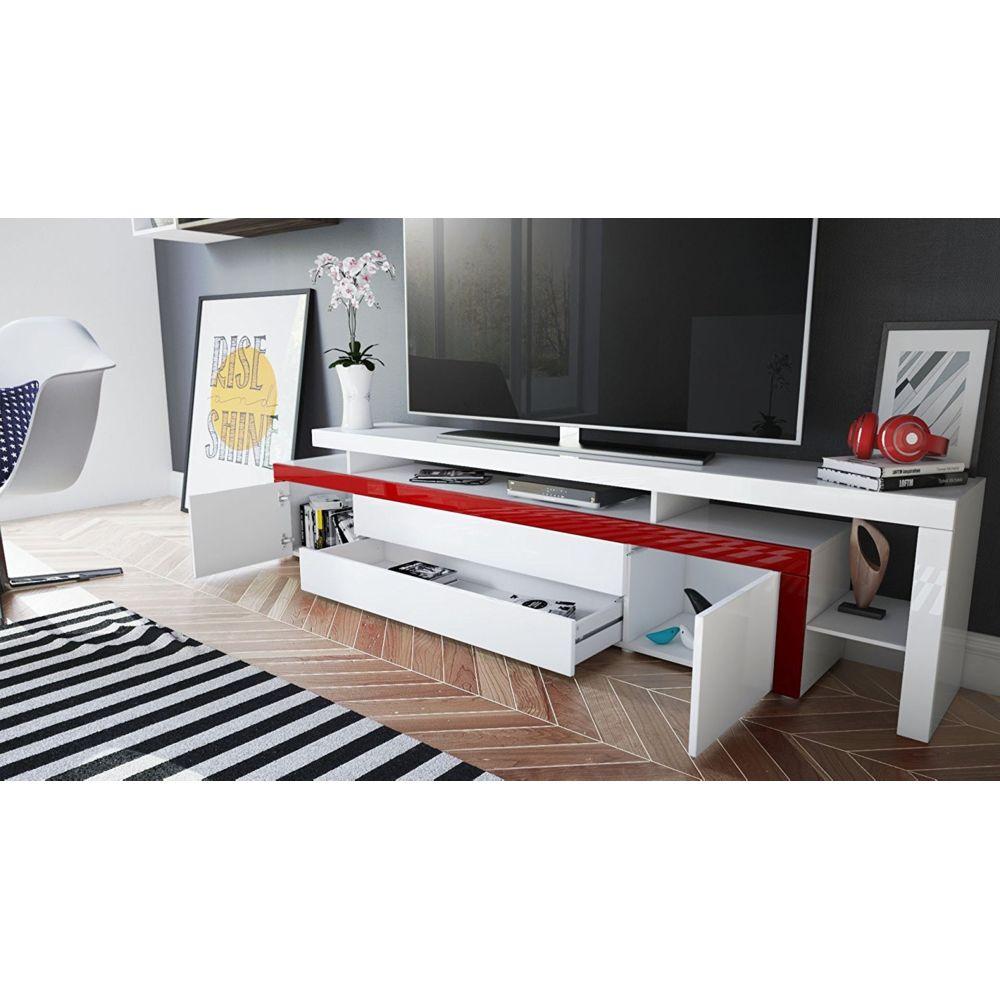 Mpc Meuble tv Blanc / Mûre laqué 227 cm avec led