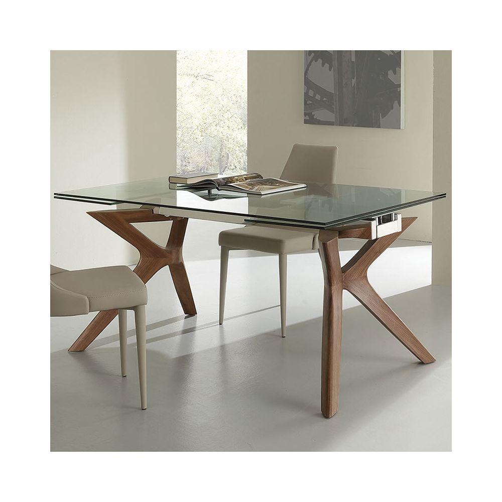 Nouvomeuble Table à manger avec rallonge en verre et bois MARISA