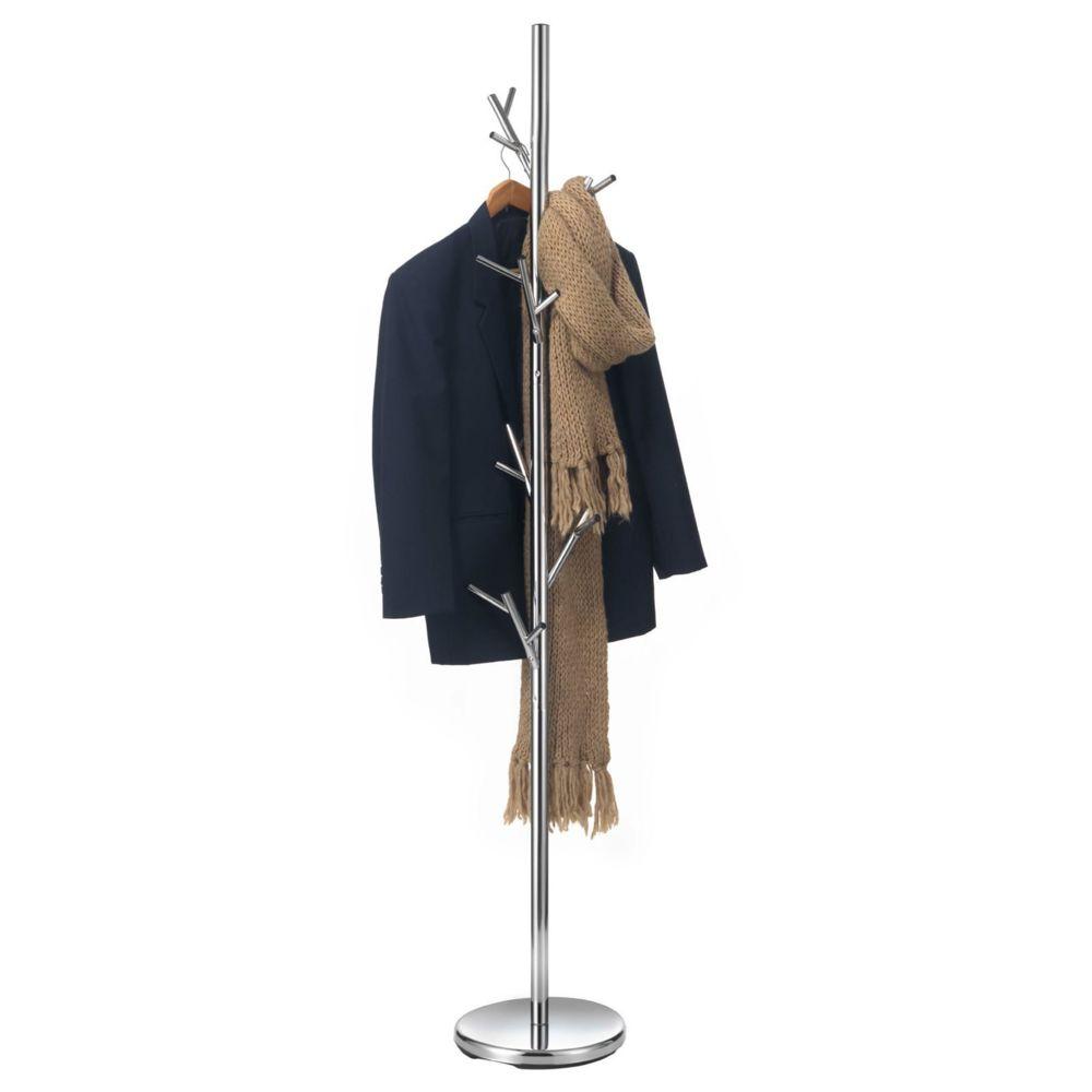 Idimex Porte-manteaux ZENO portant à vêtements sur pied en forme d'arbre avec 6 crochets sur différentes hauteurs, en métal chr