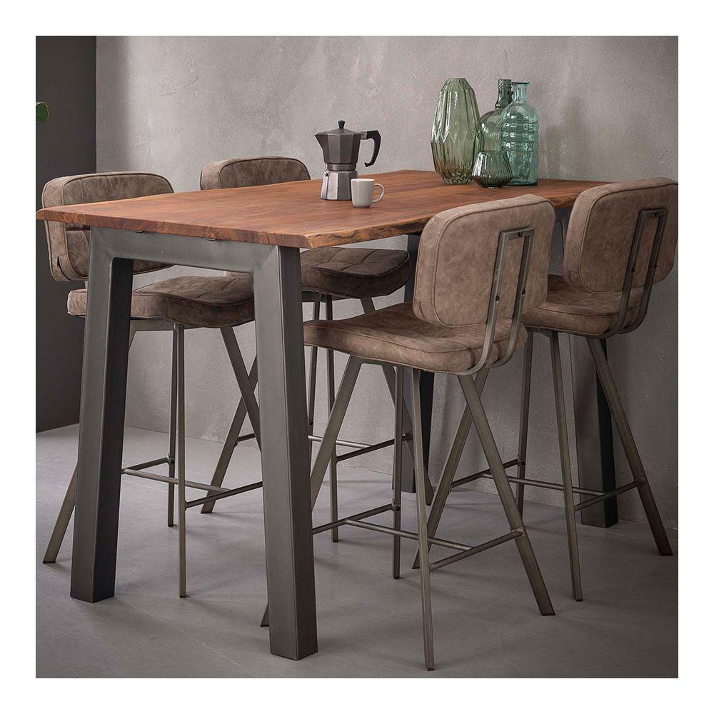 Nouvomeuble Table haute en bois et métal moderne CHICAGO