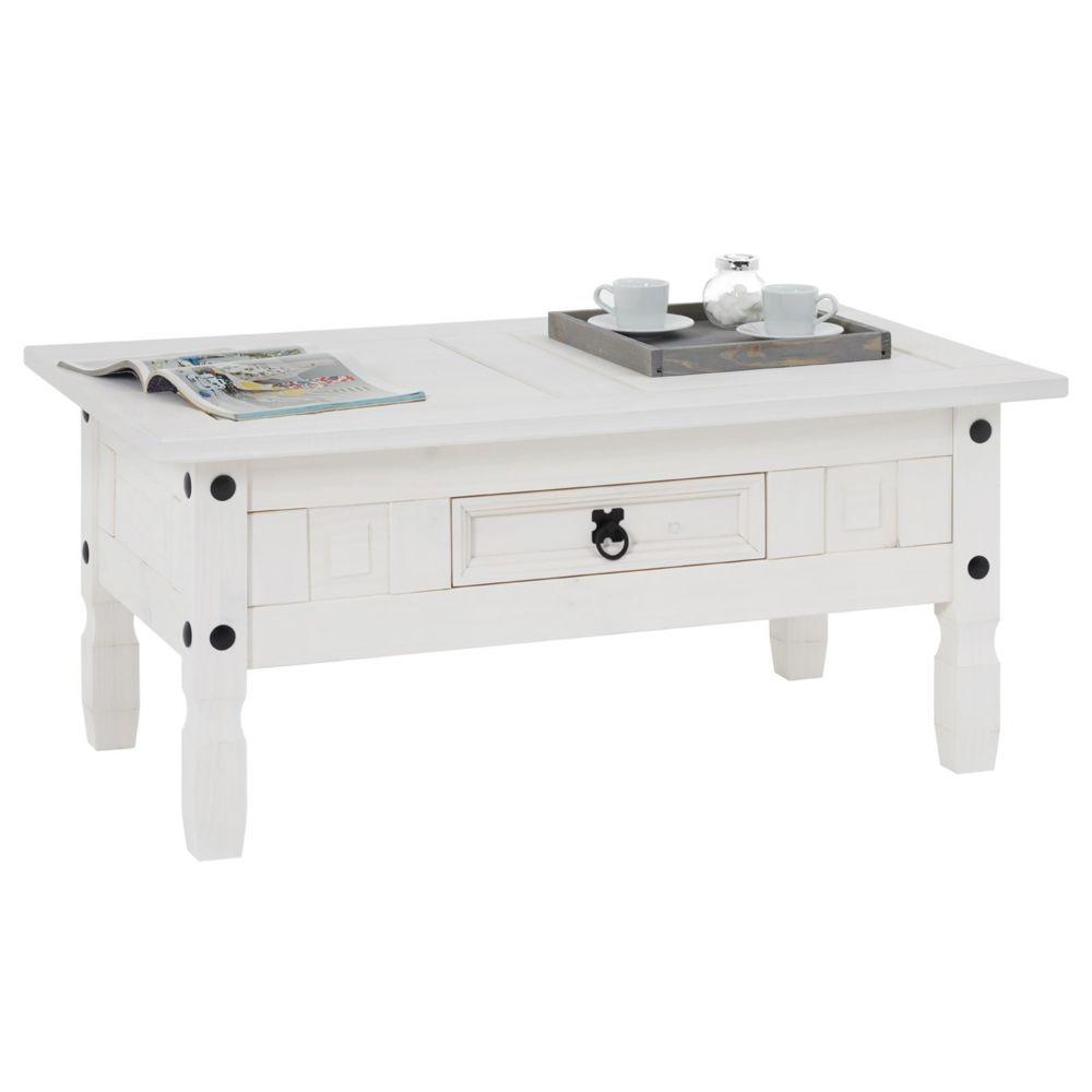 Idimex Table basse RURAL table d'appoint rectangulaire en pin massif blanc avec 1 tiroir, meuble de salon style mexicain en boi