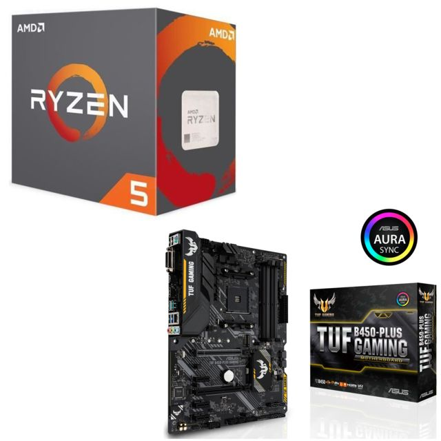 Amd - Ryzen 5 2600 Wraith Stealth Edition - 3,4/3,9 GHz + Carte mère Gaming TUF B450 Plus Asus - Kit d'évolution