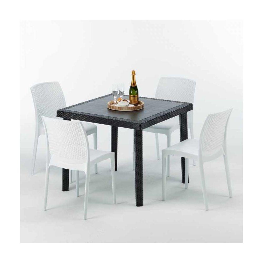 Grand Soleil Table Carrée Noire 90x90cm Avec 4 Chaises Colorées Grand Soleil Set Extérieur Bar Café Boheme PASSION, Couleur: Blanc