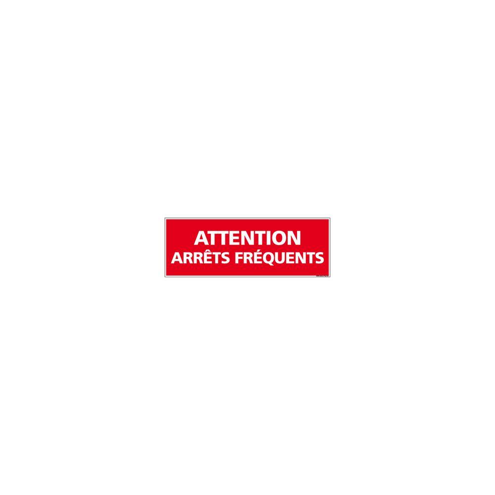 Signaletique Biz Adhésif Rétroréfléchissant Magnétique - Attention Arrêts Fréquents - Dimensions 500x150 mm - Rouge - Protection Anti-UV